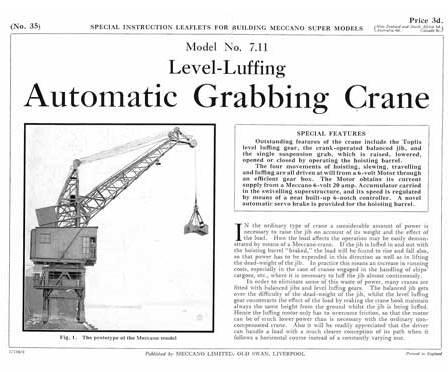 Level-Luffing Automatic Grab Crane